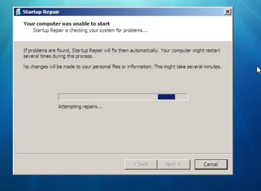 windows 7 startup repair